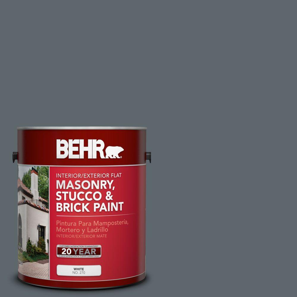 BEHR Premium 1-gal. #MS-70 Evening Blues Flat Interior/Exterior Masonry, Stucco and Brick Paint