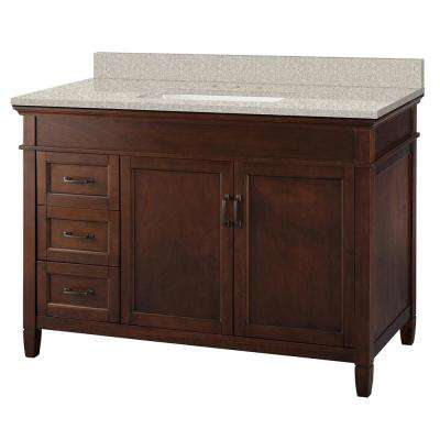 Ashburn 49 in. W x 22 in. D Vanity in Mahogany with Engineered Marble Vanity Top in Sedona with White Sink