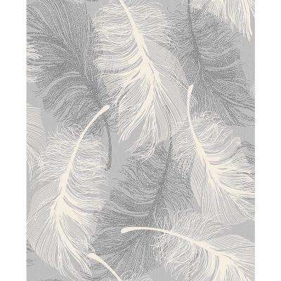 56.4 sq. ft. Journey Grey Feather Wallpaper