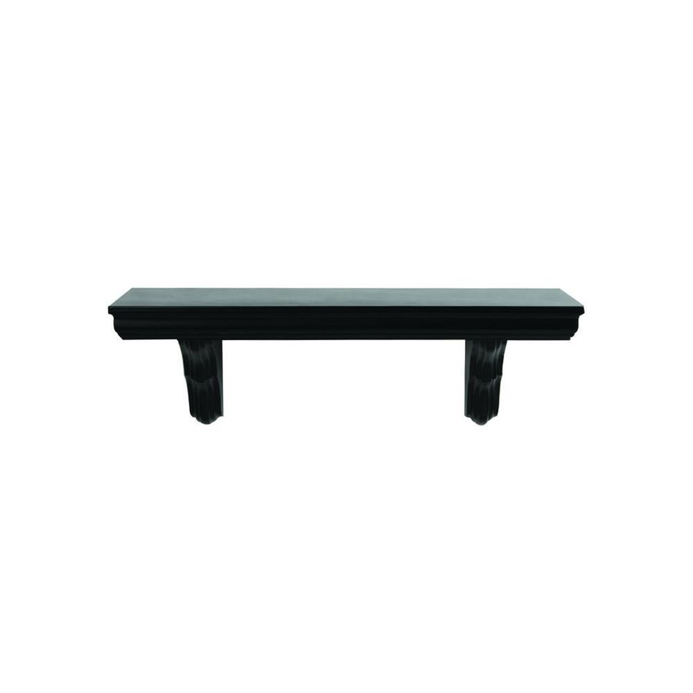 Unbranded 23.6 in. L x 7.5 in. H Black Classic MDF Bracketed Wall Shelf