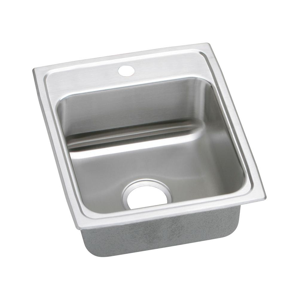 Elkay Lustertone Drop-In Stainless Steel 17 in. 1-Hole Single Bowl ADA Compliant Kitchen Sink with 6.5 in. Bowl