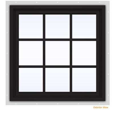 35.5 in. x 35.5 in. V-4500 Series Black Painted Vinyl Fixed Picture Window with Colonial Grids/Grilles