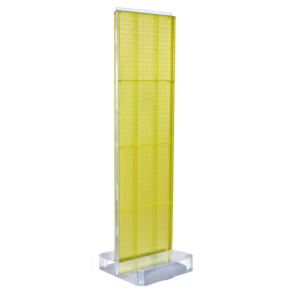 Azar Displays 60 in. H x 16 in. W 2-Sided Pegboard Floor Display on Studio Base in Yellow