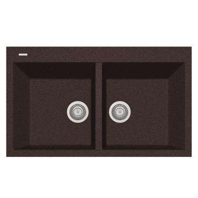 Elegance Drop-in Granite Composite 22 in. 1-Hole Double Bowl Kitchen Sink in Brown