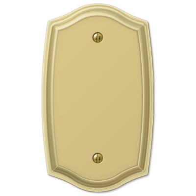 Vineyard 1 Gang Blank Steel Wall Plate - Polished Brass