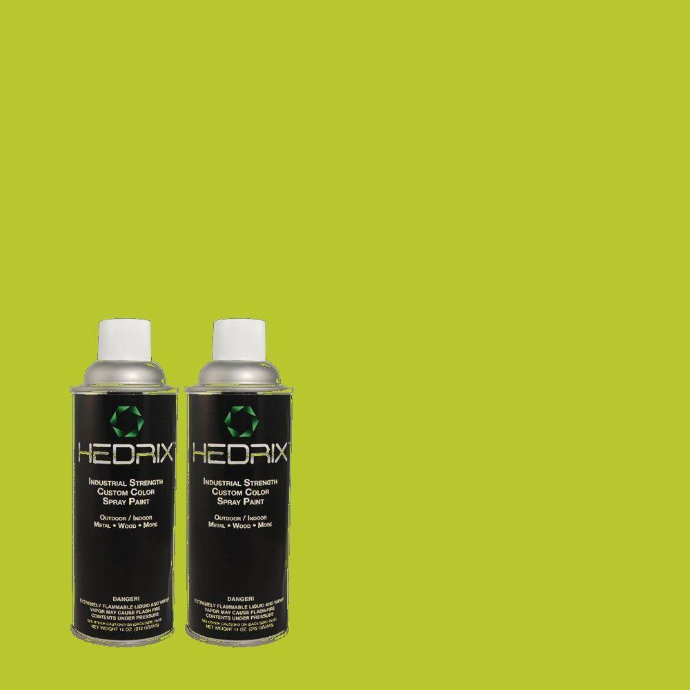 Hedrix 11 oz. Match of 410B-6 Crisp Green Semi-Gloss Custom Spray Paint (2-Pack)