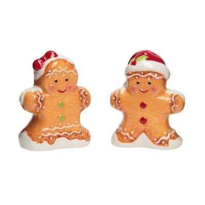 Gingerbread Man 2 oz. Brown Ceramic Salt and Pepper Shakers with Figural Shapes
