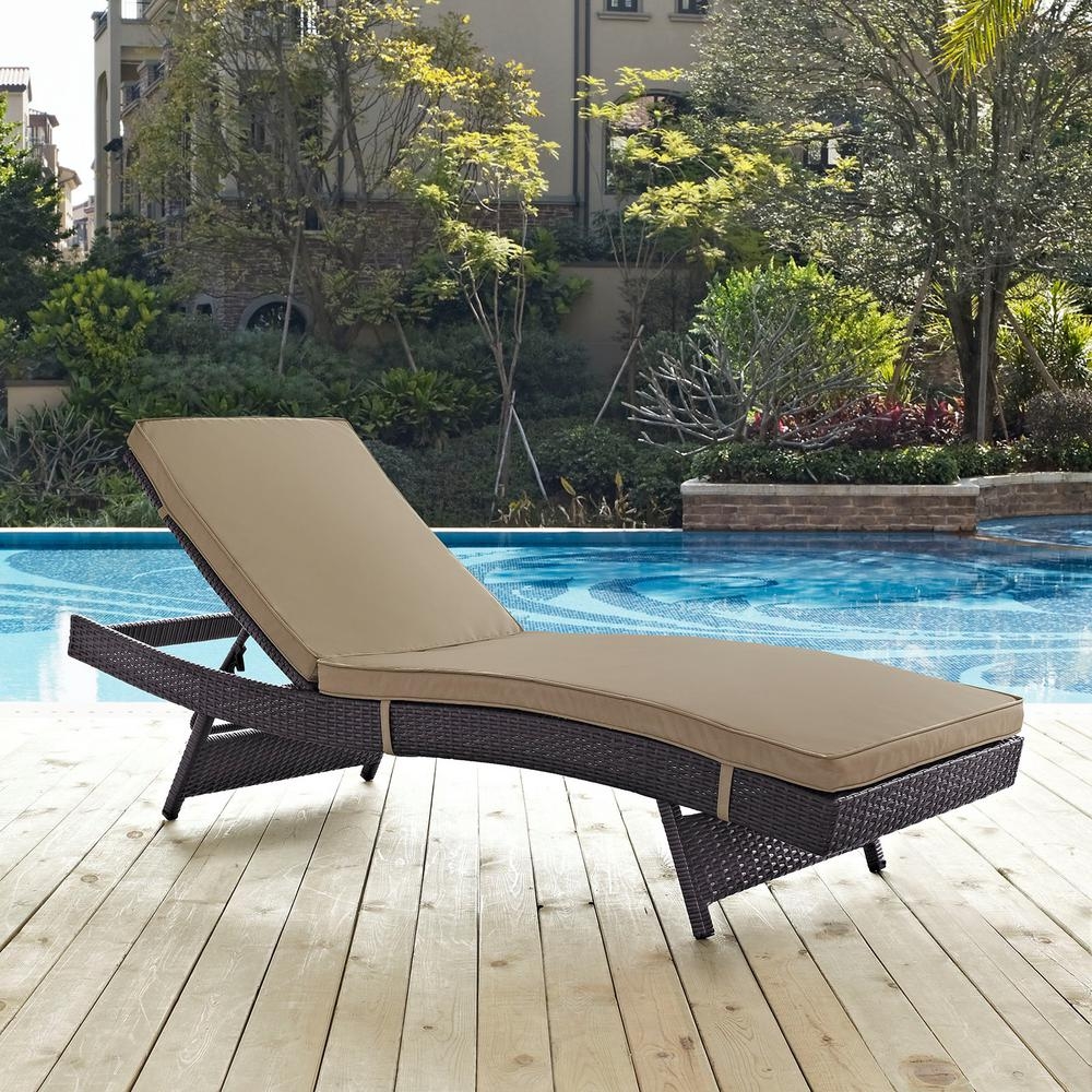 Modway Convene Wicker Outdoor Patio Chaise Lounge In