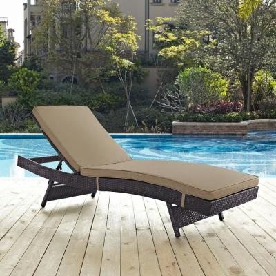 Convene Wicker Outdoor Patio Chaise Lounge in Espresso with Mocha Cushions