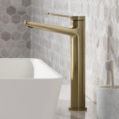 Indy Single Hole Single-Handle Vessel Bathroom Faucet in Brushed Gold