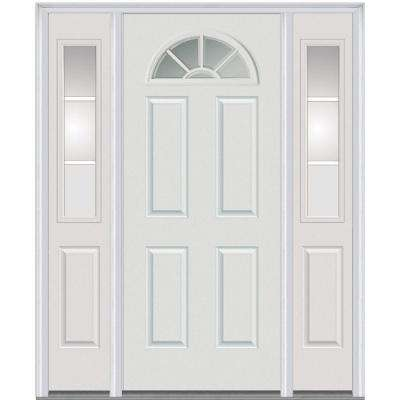 60 in. x 80 in. Internal Grilles Right-Hand Inswing 1/4-Lite Clear Painted Steel Prehung Front Door with Sidelites