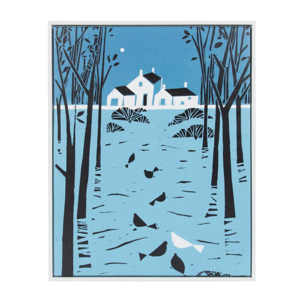 "Sylvie ""Farmhouse Trail Linocut"" by Giuliana Lazzerini Framed Canvas Wall Art"