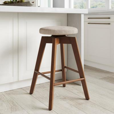 Amalia 26 in. Natural Wheat Brown Backless Counter Height 360 Swivel Upholstered Seat Solid Wood Kitchen Bar Stool