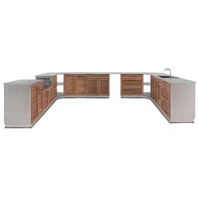 Natural Cherry 17-Piece 184.75 in. W x 36.5 in. H x 129.38 in. D Outdoor Kitchen Cabinet Set
