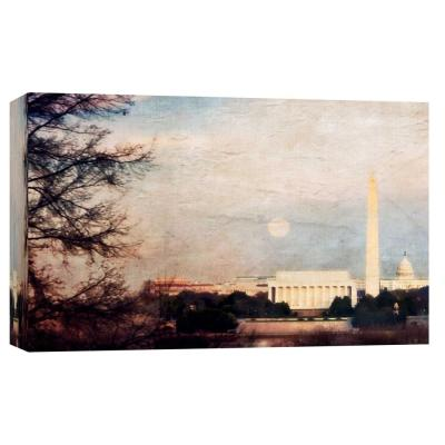 10 in. x 12 in. ''Full Moon Rising'' Printed Canvas Wall Art