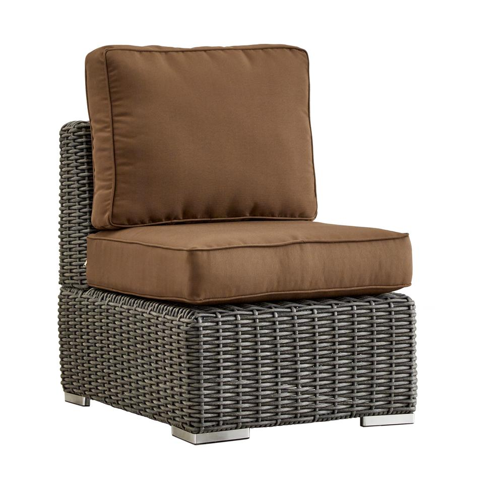 Homesullivan camari charcoal wicker armless middle outdoor sectional chair with brown cushion