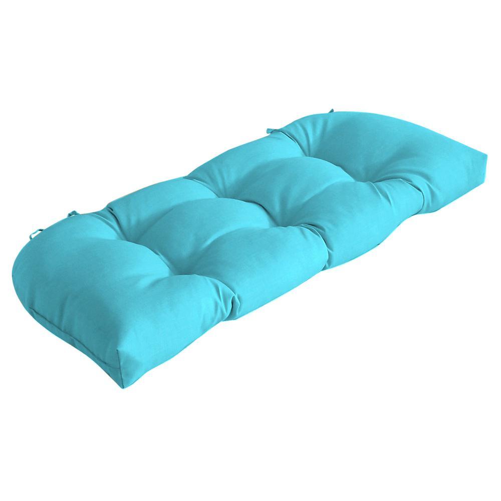 Rectangle Outdoor Wicker Settee Cushion in Pool Blue Leala Texture