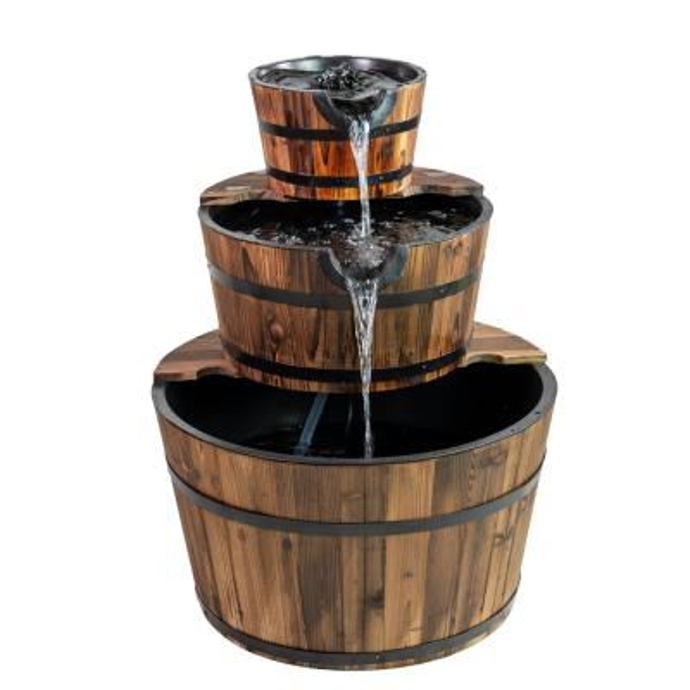 Patio Premier Wood 3-Tiered Cascading Washtub Fountain