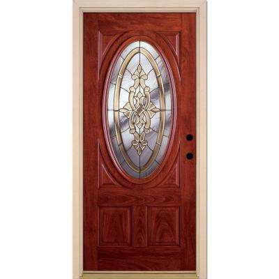 37.5 in. x 81.625 in. Silverdale Brass 3/4 Oval Lite Stained Cherry Mahogany Left-Hand Fiberglass Prehung Front Door