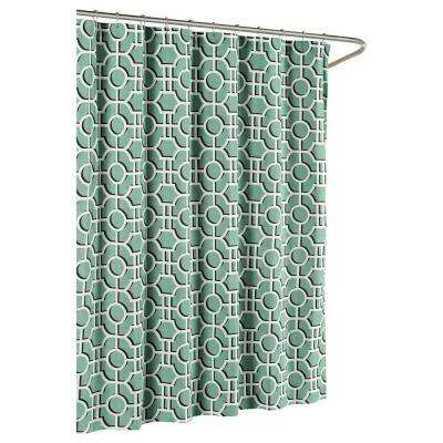 Lenox Cotton Luxury 72 in. W x 72 in. L Shower Curtain in Teal