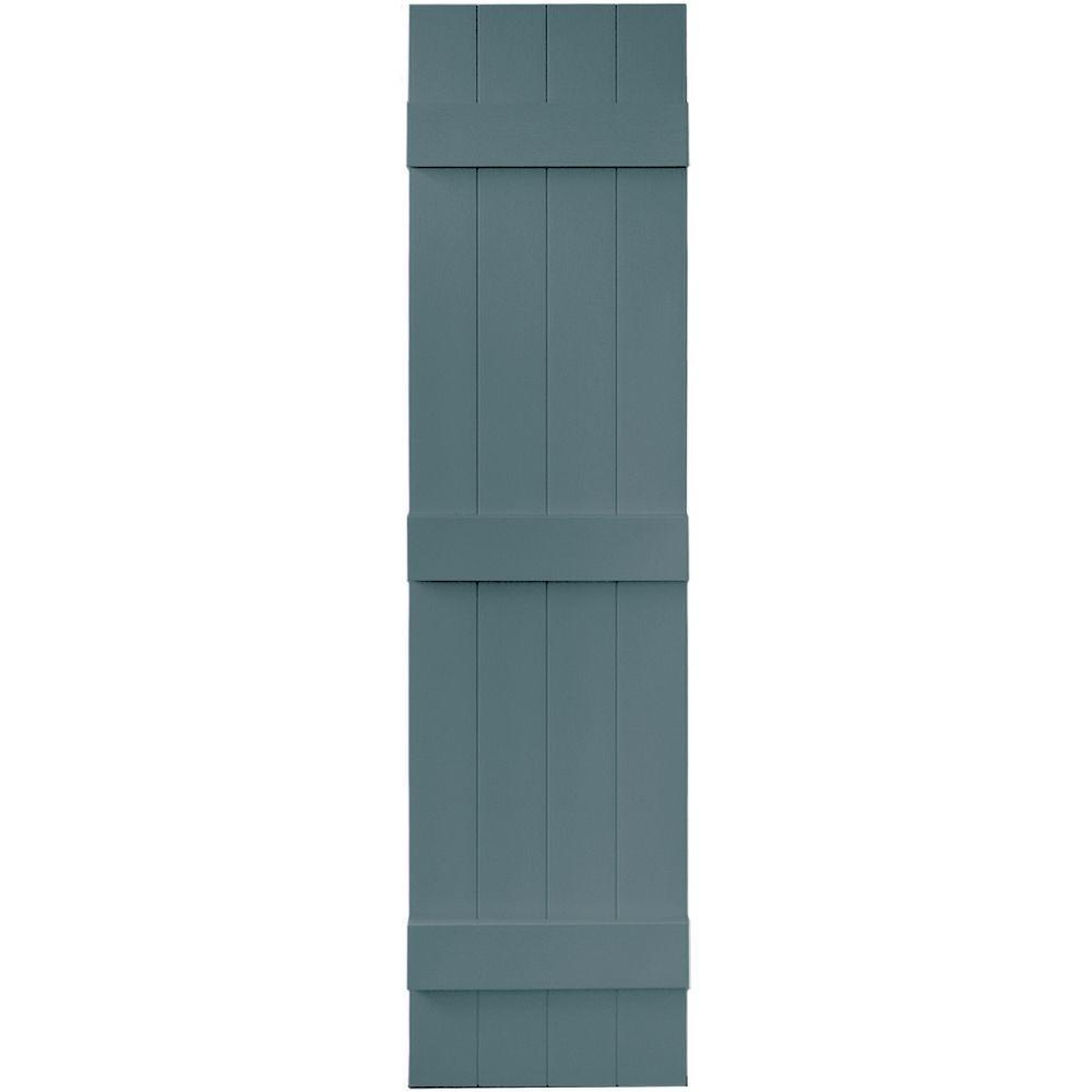 Builders Edge 14 in. x 59 in. Board-N-Batten Shutters Pair, 4 Boards Joined #004 Wedgewood Blue