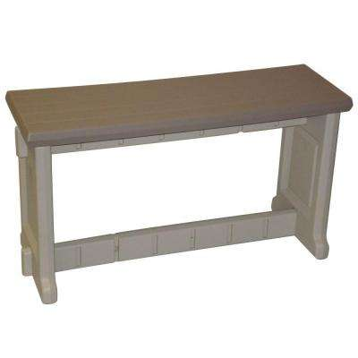 36 in. Taupe Resin Patio Bench