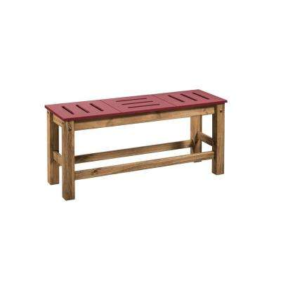 Stillwell 37.8 in. Red and Natural Wood Bench (Set of 2)