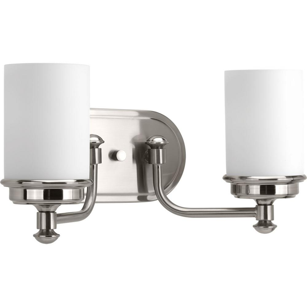 Glide Collection 2-Light Brushed Nickel Vanity Light with Opal Glass Shades