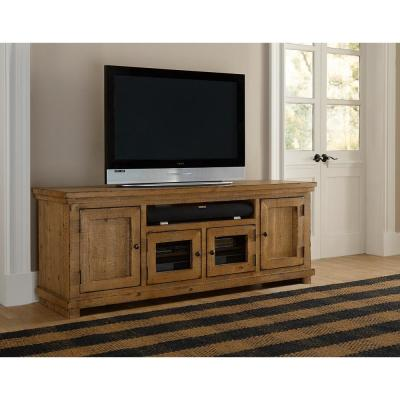 Willow 74 in. Distressed Pine Wood TV Stand Fits TVs Up to 80 in. with Storage Doors