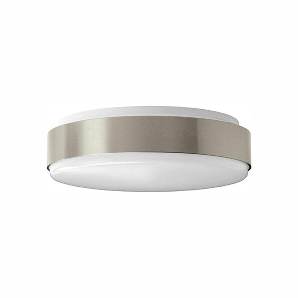 Round Brushed Nickel 100 Watt Equivalent Integrated Led Flushmount Bright Cool White Dimmable