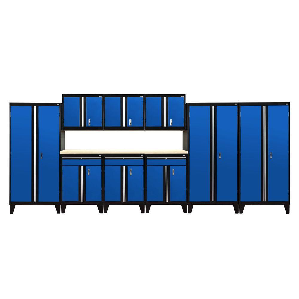 79 in. H x 219 in. W x 18 in. D Modular Garage Welded Steel Cabinet Set in Black/Blue (10-Piece)