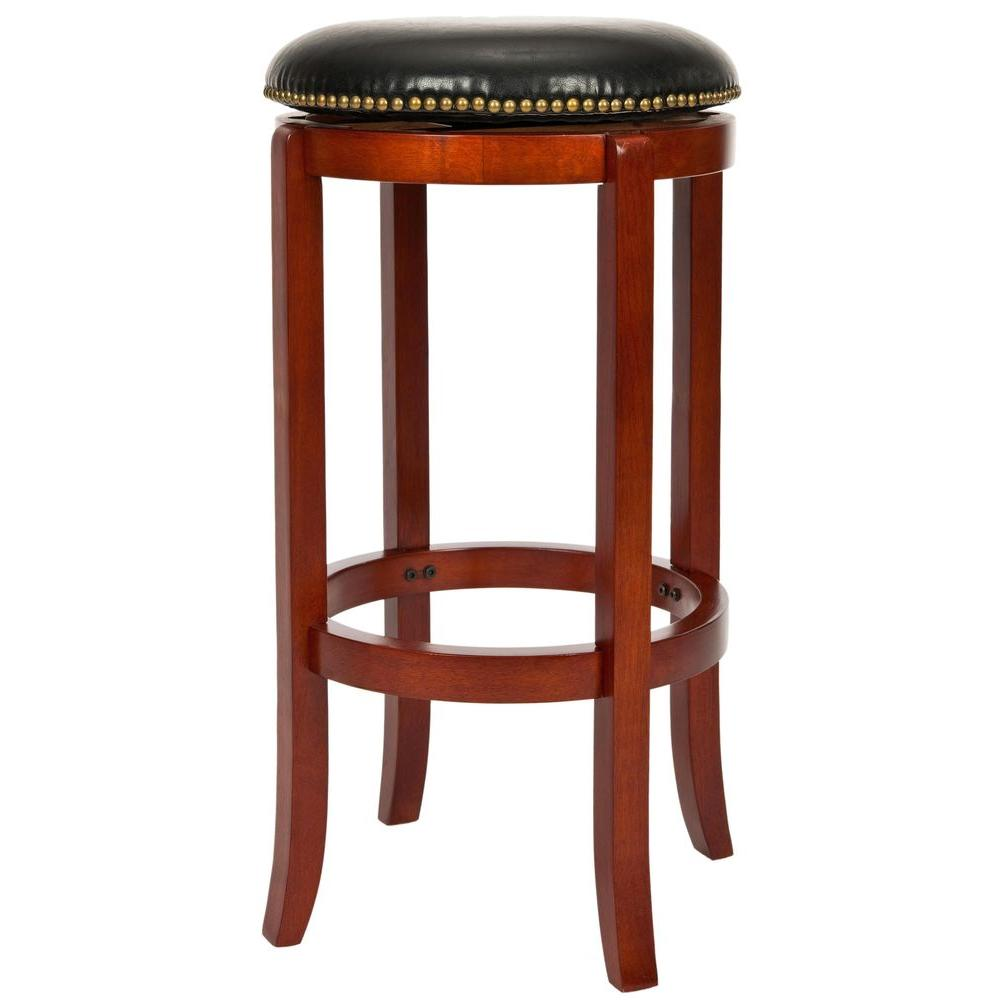 Safavieh Ellwood 24 In Light Cherry Swivel Cushioned Bar Stool