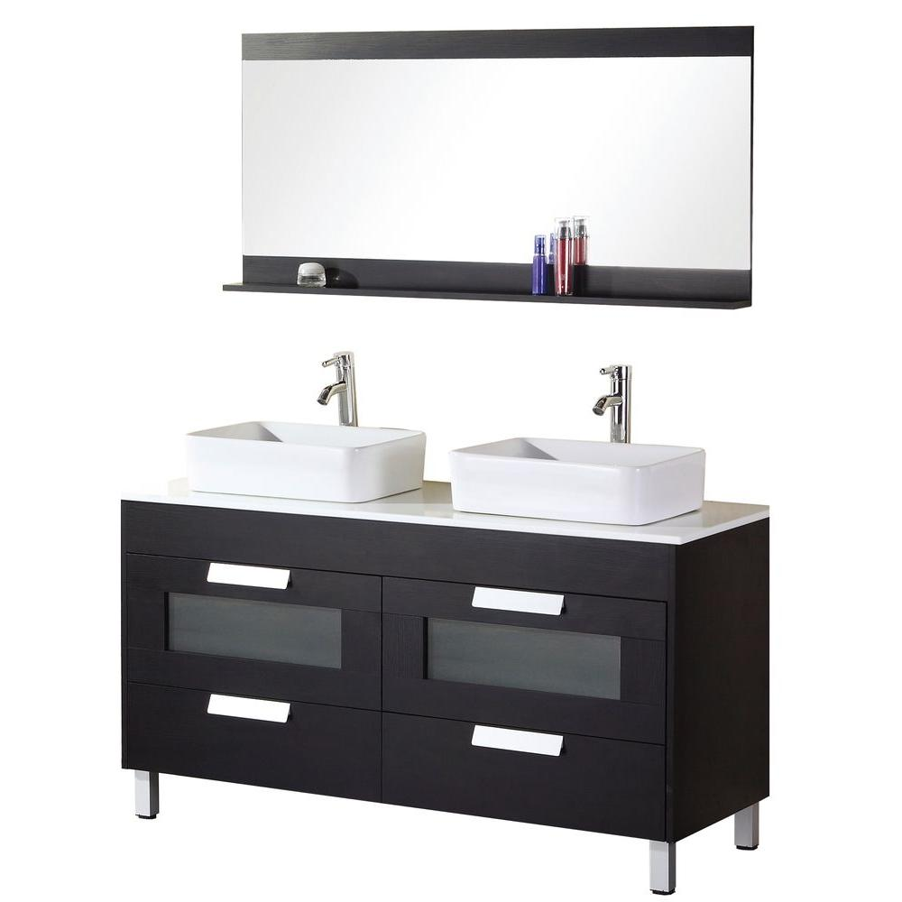 Design Element Francesca 55 In W X 22 D Vanity Espresso With Composite Stone Top And Mirror White