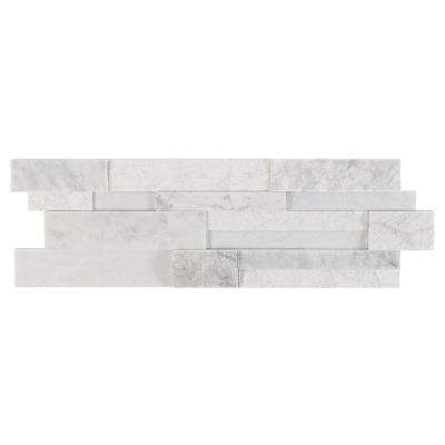 Cliffstone White Ledger Panel 8 in. x 24 in. 10mm Matte Marble Mosaic Tile (1.29 sq. ft.)