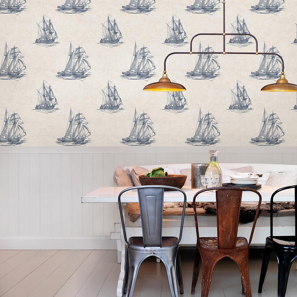 56.4 sq. ft. Hudson Bay Blue Nautical Wallpaper