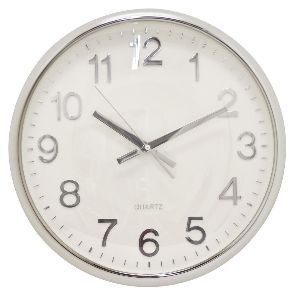 15 in. Shiny Silver Wall Clock