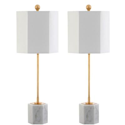 Magdalene 29 in. White/Gold Leaf Marble Table Lamp with White Shade (Set of 2)