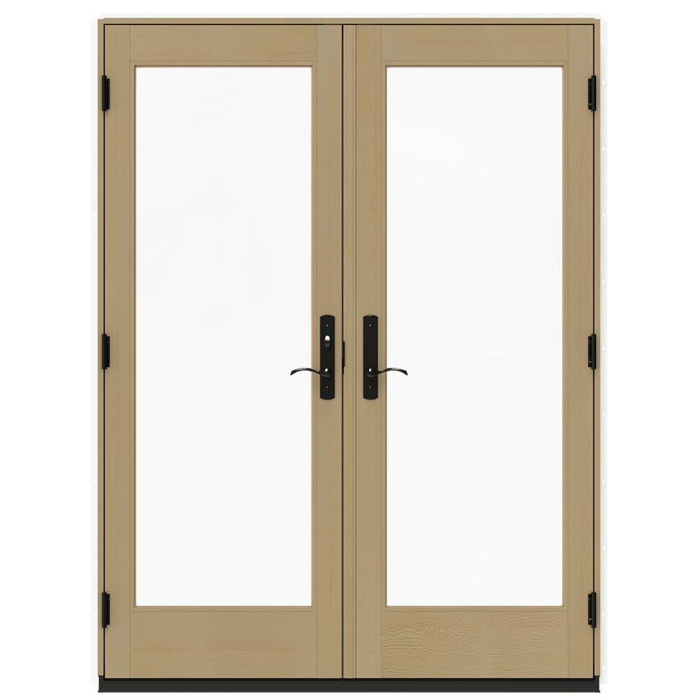 Jeld wen 60 in x 80 in w 4500 white clad wood right hand for White wooden french doors