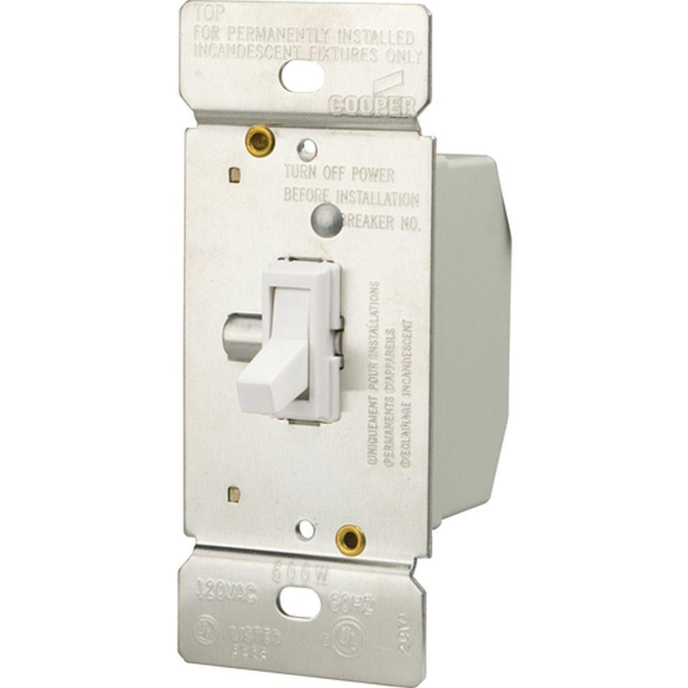 600-Watt 3-Way Incandescent Non-Preset Toggle Dimmer, White