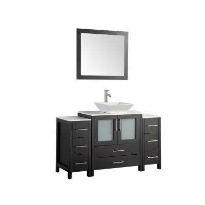 54 in. W x 18.5 in. D x 36 in. H Bathroom Vanity in Espresso with  Vanity Top White with Ceramic Single Basin and Mirror