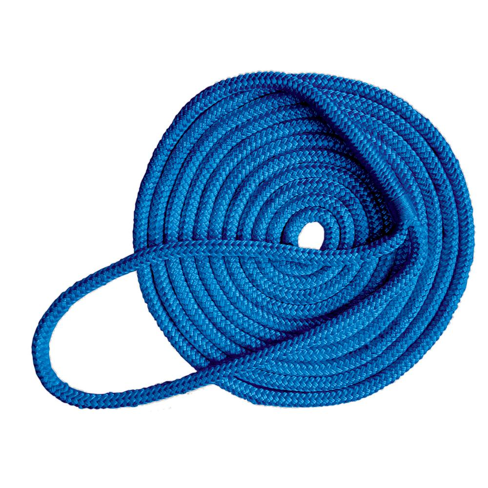 Tommy Docks 15 ft. Long 3/8 in. Thick Double Braided Nylon Dock Line with 12 in. Eye Splice Blue