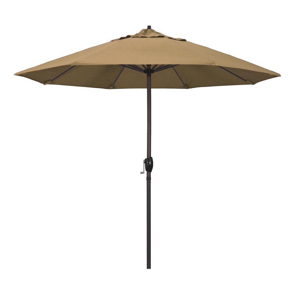 9 ft. Bronze Aluminum Market Patio Umbrella Auto Tilt Crank Lift in Straw Olefin