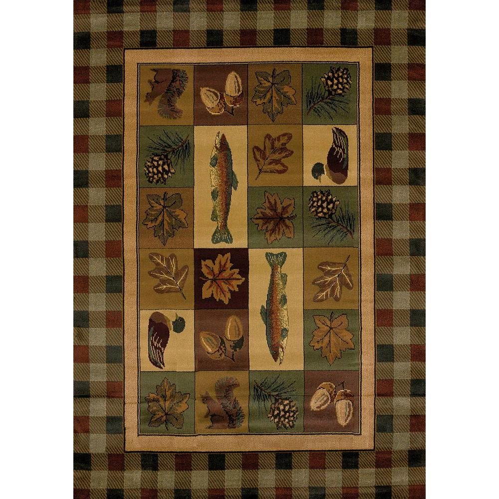 United Weavers Timberland Brown 5 ft. 3 in. x 7 ft. 6 in. Contemporary Lodge Area Rug