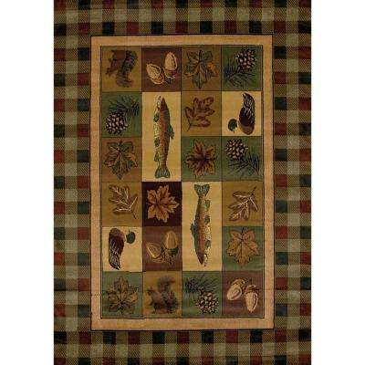 Timberland Brown 5 ft. 3 in. x 7 ft. 6 in. Contemporary Lodge Area Rug