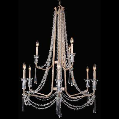 Barcelona 9-Light Crystal Transcend Silver Chandelier