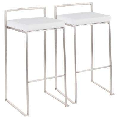 Fuji 30 in. Stainless Steel Stackable Bar Stool with White Velvet Cushion (Set of 2)