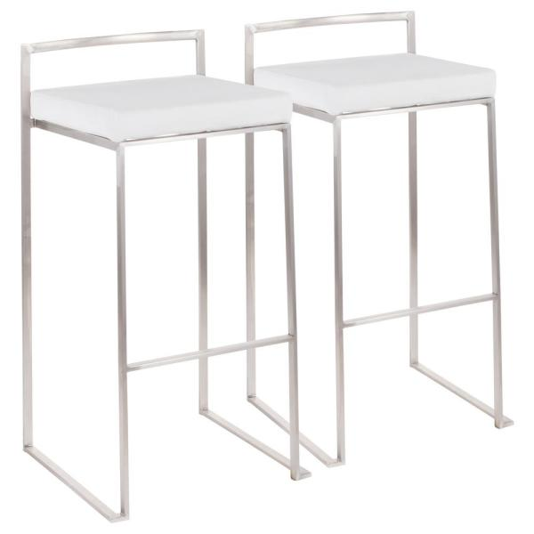 Lumisource Fuji 30 in. Stainless Steel Stackable Bar Stool with White