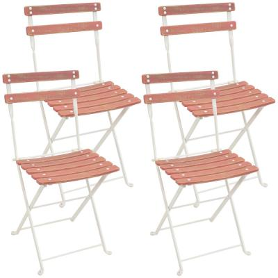 Classic Cafe European Chestnut Antique Pink Wood Bistro Folding Chair (Set of 4)