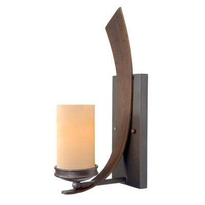 Aizen 1-Light Hammered Ore Sconce with Tea Stained Creamy Glass