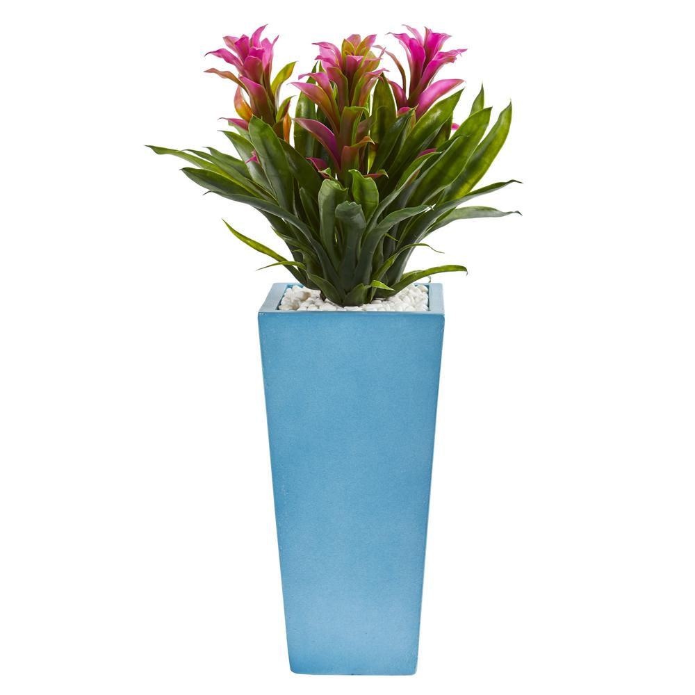 26 in. High Triple Purple Bromeliad Artificial Plant in Turquoise Tower